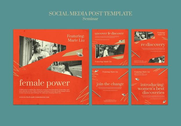 Postagens em mídias sociais de seminários de feminismo