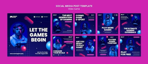 Postagens em mídias sociais de videogame