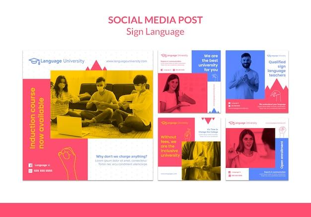 Postagens em mídias sociais em linguagem de sinais