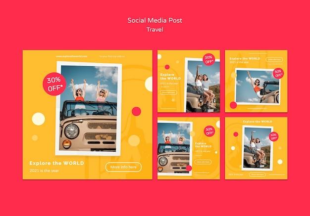 Postagens em mídias sociais itinerantes