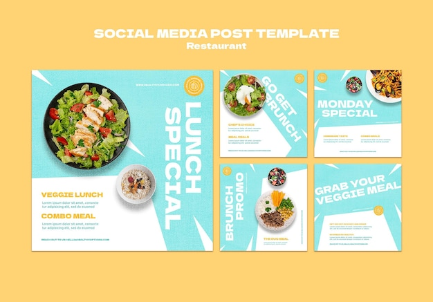 Postagens em redes sociais de restaurantes