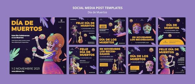 Postagens festivas de dia de muertos nas redes sociais