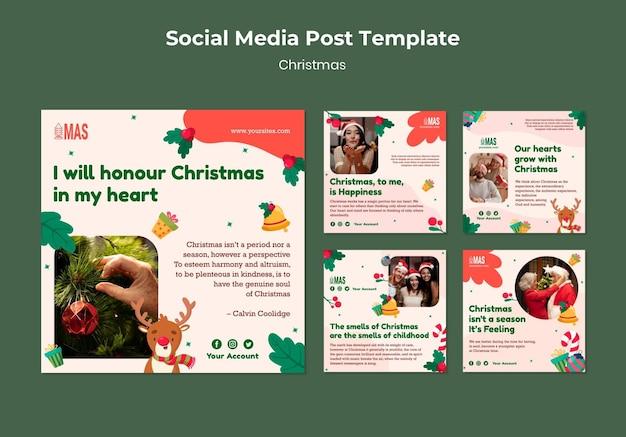 Postagens festivas nas redes sociais de natal