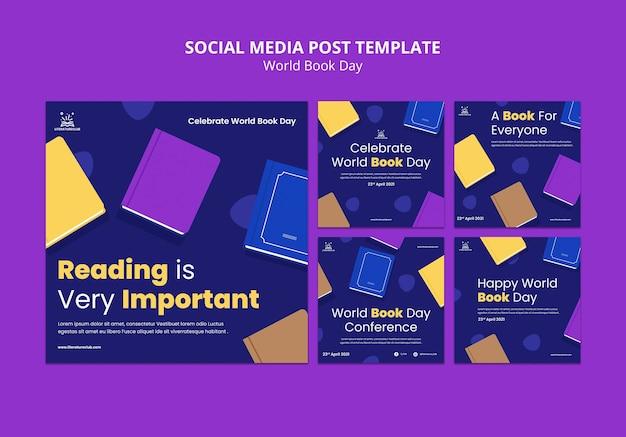 Postagens ilustradas de mídia social para o dia mundial do livro