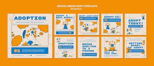 Postagens ilustradas em mídias sociais sobre animais de estimação