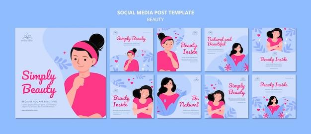 Postagens ilustradas sobre beleza nas redes sociais