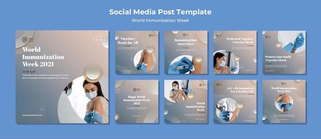 Postagens na mídia social da semana mundial de vacinação