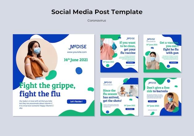 Postagens na mídia social da vacina contra o coronavírus