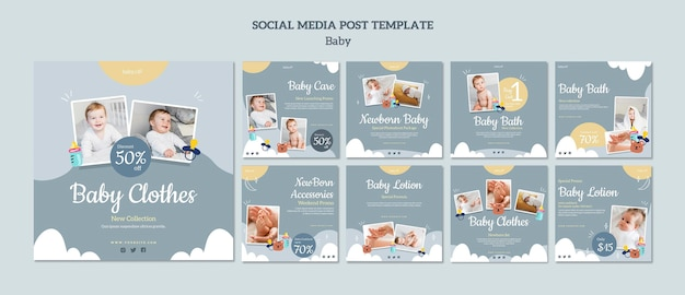 Postagens nas redes sociais da loja de bebês
