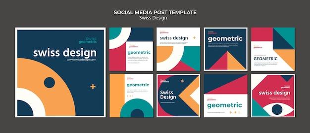 Postagens nas redes sociais de design suíço