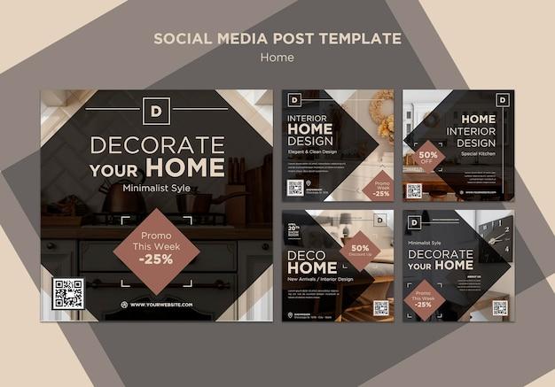 Postagens nas redes sociais de vendas de decoração para casa