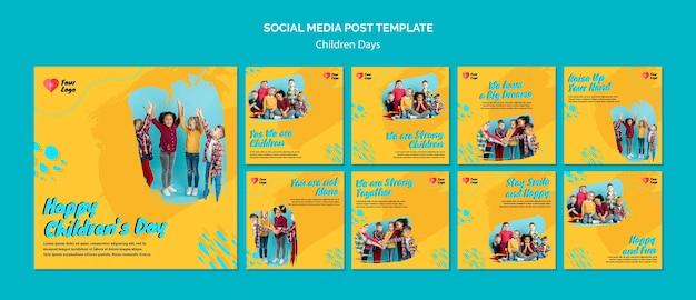 Postagens nas redes sociais do dia das crianças