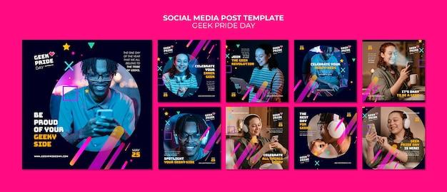 Postagens nas redes sociais do dia do orgulho geek