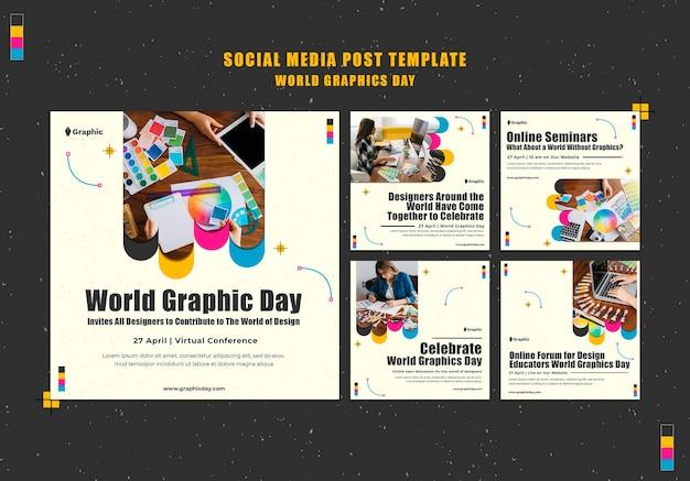 Postagens nas redes sociais do dia mundial dos gráficos