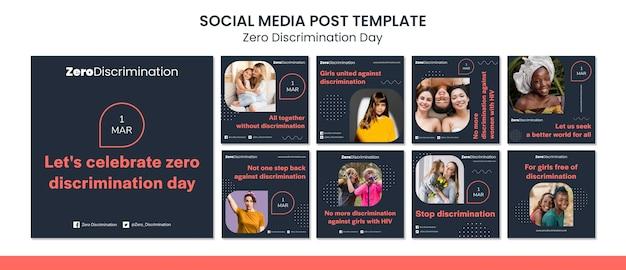 Postagens nas redes sociais do dia zero discriminação