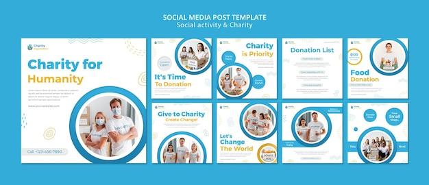 Postagens no instagram de atividades de caridade