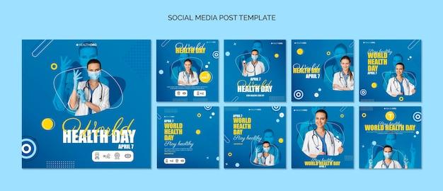 Postagens no instagram do dia mundial da saúde com foto