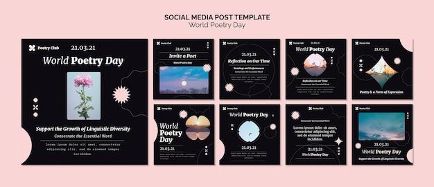 Postagens no instagram do evento do dia mundial da poesia