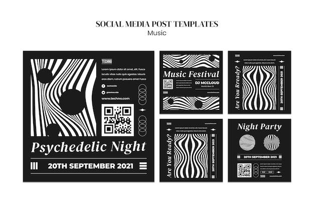 Postagens psicodélicas em mídia social de festa