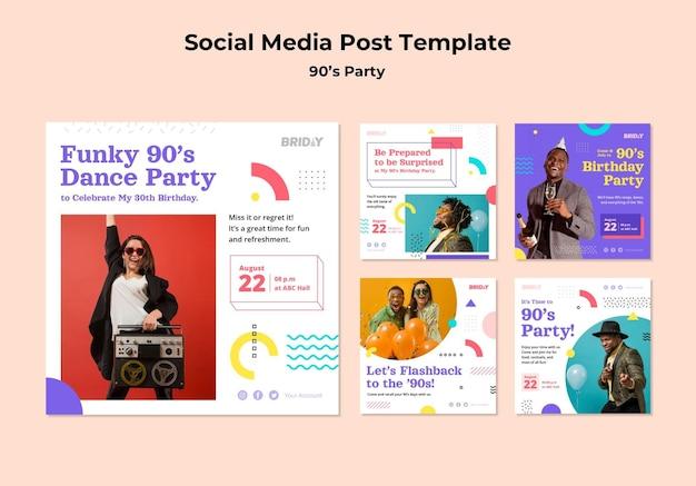 Postagens retrô em mídia social da festa dos anos 90