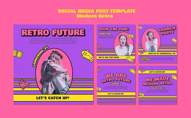 Postagens retrô modernas em mídia social