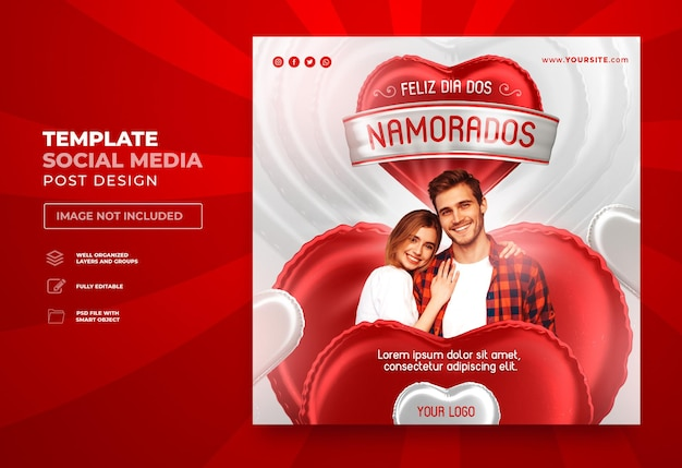 Postar feliz dia dos namorados nas redes sociais no brasil renderização em 3d