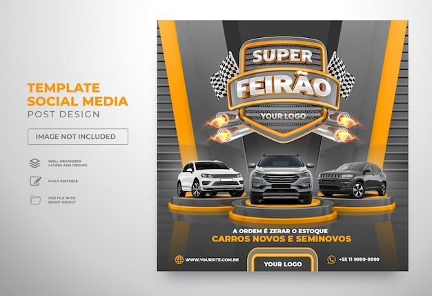 Postar modelo de feira super auto em mídia social