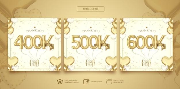 Postar nas redes sociais 400k 500k 600k seguidores com balões de números renderização em 3d