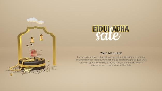 Poste de venda eid al adha com instrumento islâmico de renderização 3d de pódio preto