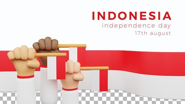 Pôster 3d plano de fundo aset modelo ilustração dia da independência na indonésia