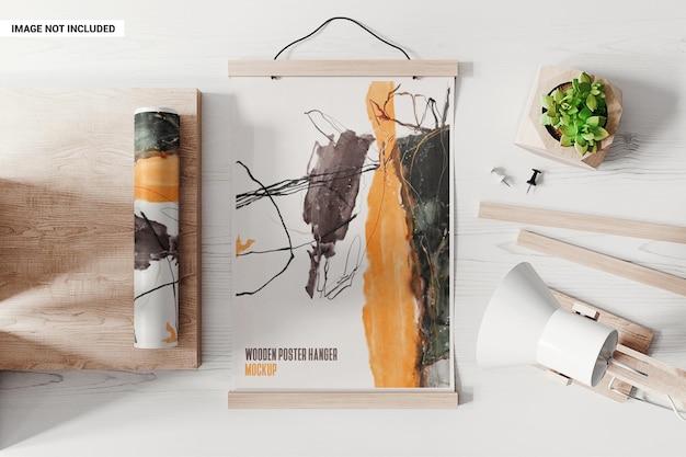 Pôster com maquete de suportes de madeira