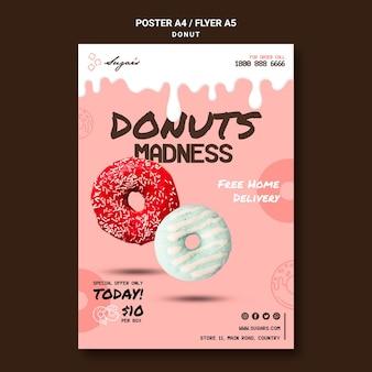 Pôster da loucura de donuts com diferentes sabores