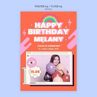 Pôster de aniversário ou modelo de folheto
