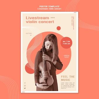 Pôster de concerto de violino ao vivo