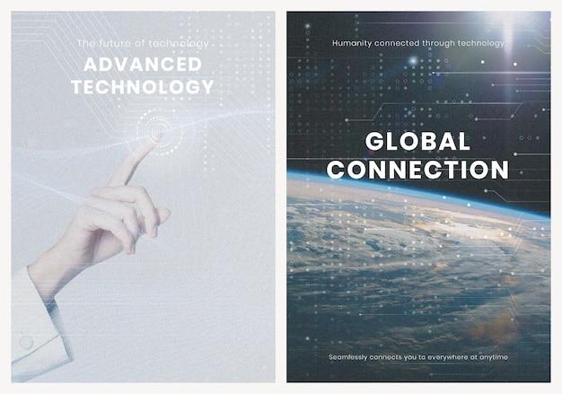 Poster de conexão global psd modelo de inovação de tecnologia avançada