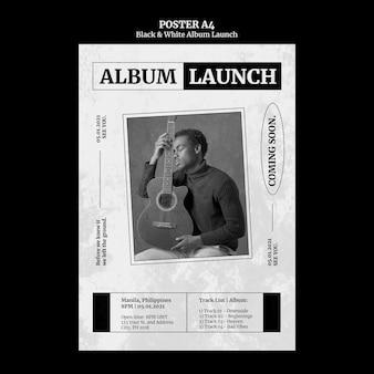 Pôster de lançamento do álbum em preto e branco