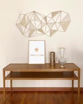 Pôster de maquete com renderização de decoração dourada