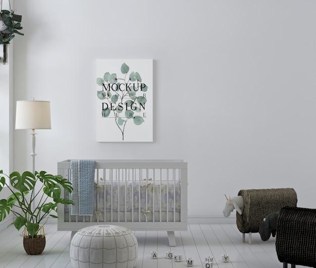 Pôster de maquete em quarto de bebê branco e simples
