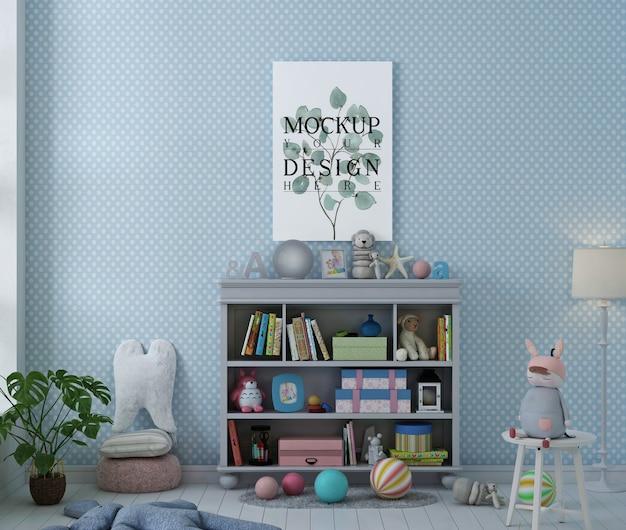Pôster de maquete em quarto infantil