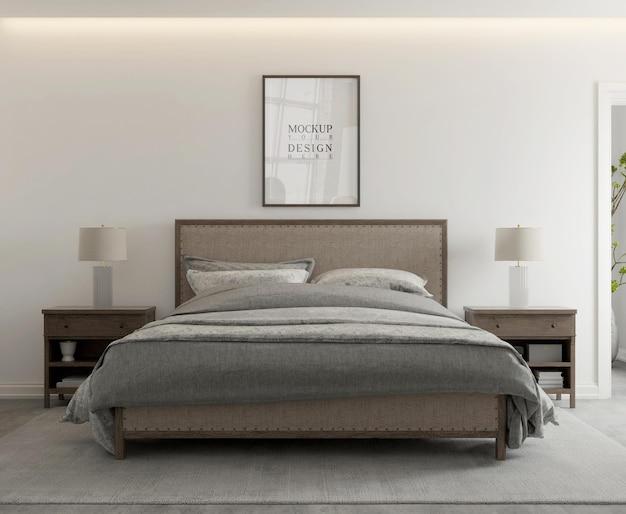 Pôster de maquete em quarto moderno e contemporâneo