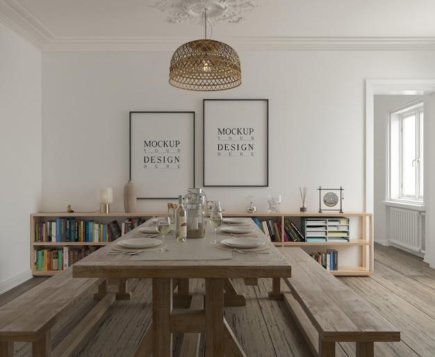Pôster de maquete em sala de jantar moderna e contemporânea