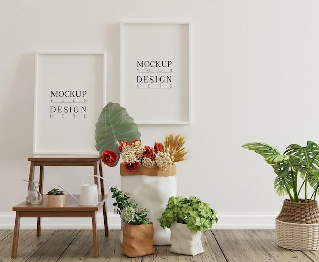 Pôster de maquete em um interior simples com decorações e flores