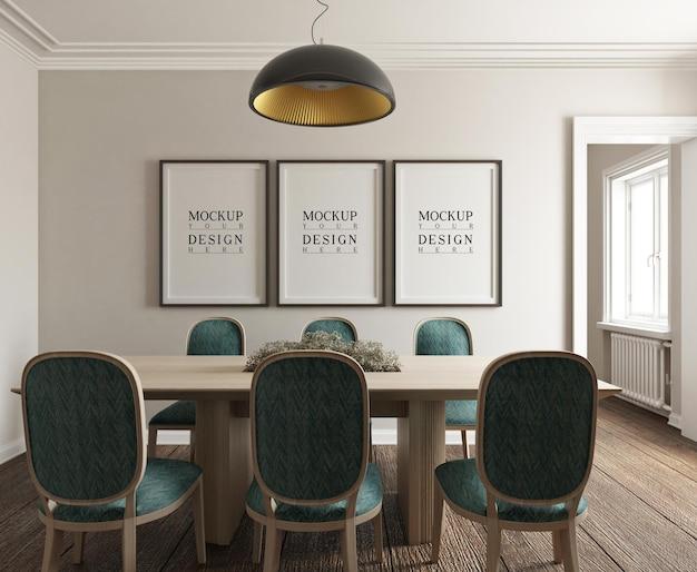 Pôster de maquete em uma sala de jantar fotorrealista clássica e moderna