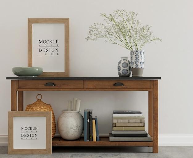 Pôster de maquete na mesa do console em um interior simples