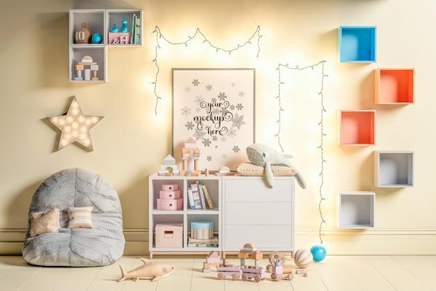 Pôster de maquete na parede do quarto das crianças em renderização 3d