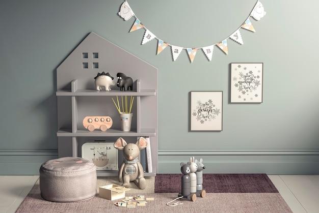 Pôster de maquete no quarto das crianças em tons pastel