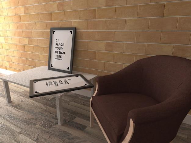 Poster de moldura mock up interior