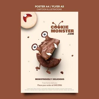 Pôster de monstros de biscoitos com ilustrações