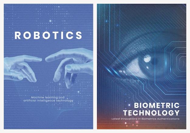 Poster de segurança cibernética psd modelo de inovação futurista de tecnologia