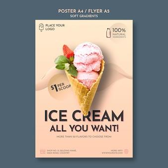 Pôster de sorvete gradiente suave